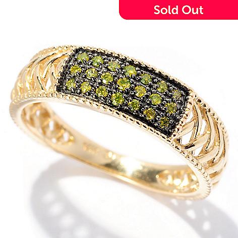 128-606 - Beverly Hills Elegance 14K Gold 0.13ctw Yellow Diamond Lattice Band Ring