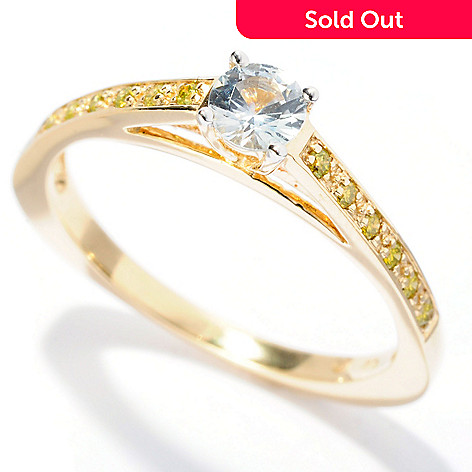 128-607 - Beverly Hills Elegance 14K Gold White Sapphire & Yellow Diamond Triangular Ring