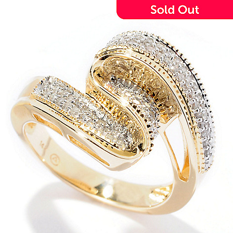 128-609 - Beverly Hills Elegance 14K Gold 0.30ctw Diamond Swirl Wave Ring
