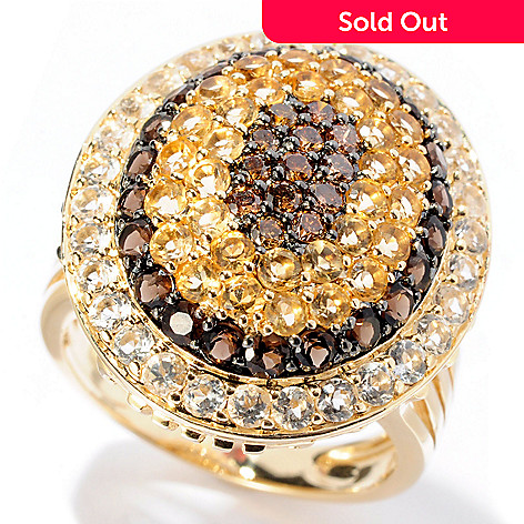 128-610 - Beverly Hills Elegance 14K Gold 3.00ctw Multi Gem & Mocha Diamond Wide Oval Ring