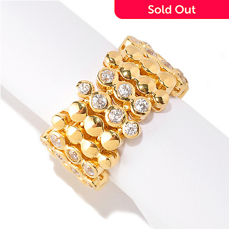 128-611 - Sonia Bitton Gold Embraced™ 1.38 DEW Bezel Set Simulated Diamond Dream Fit™ Ring