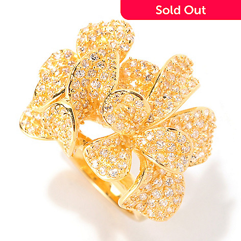 128-612 - Sonia Bitton 2.63 DEW Round Cut Pave Dimensional Simulated Diamond Flower Ring