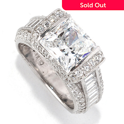 128-614 - RITANI™ Platinum Embraced™ 5.25 DEW Simulated Diamond Square Cut Ring