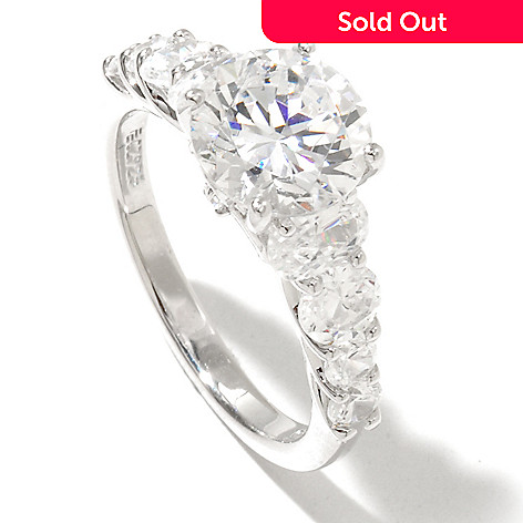 128-620 - RITANI Platinum Embraced™ 3.16 DEW Round Cut Simulated Diamond Graduated Ring