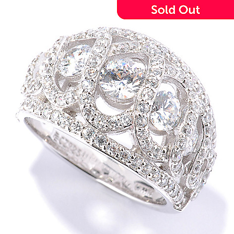 128-622 - RITANI Platinum Embraced™ 2.45 DEW Graduated Simulated Diamond Anadare Dome Ring