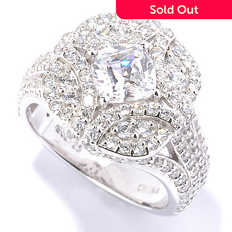 128-623 - RITANI Platinum Embraced™ 2.88 DEW Simulated Diamond Cushion Cut Ring