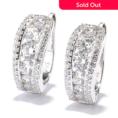 128-630 - RITANI™ Platinum Embraced™ 4.10 DEW Graduated Simulated Diamond Hoop Earrings
