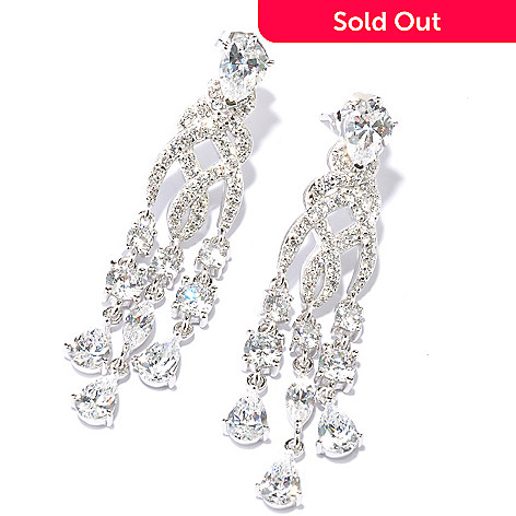 128-633 - RITANI™ Platinum Embraced™ 6.60 DEW Round & Pear Cut Simulated Diamond Earrings
