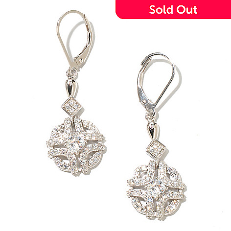 128-634 - RITANI™ Platinum Embraced™ 1.74 DEW Simulated Diamond Round Drop Earrings