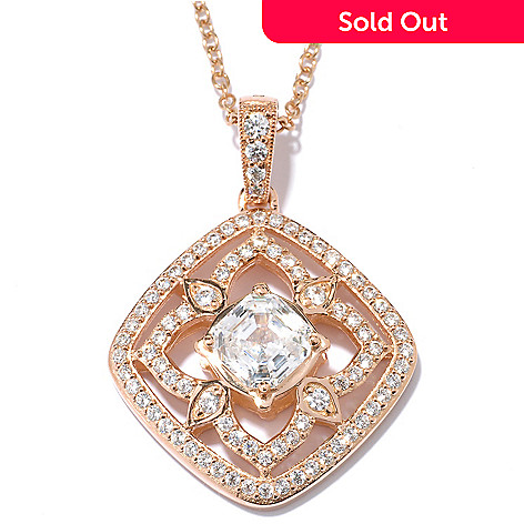 128-637 - RITANI™ 2.69 DEW Asscher Simulated Diamond Cut Flower Pendant w/ 18'' Chain