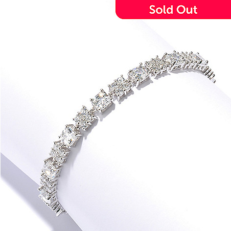 128-642 - RITANI Platinum Embraced™ Round Cut Cluster Simulated Diamond Link Line Bracelet