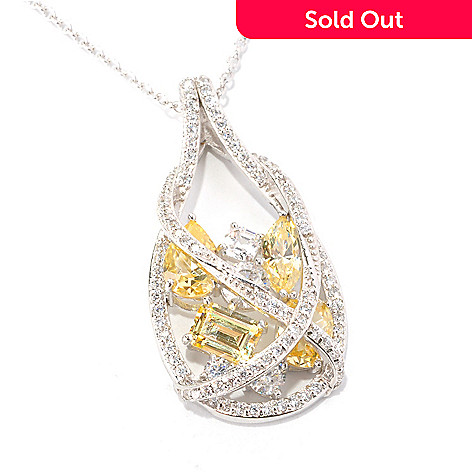 128-646 - RITANI™ Platinum Embraced™ 6.49 DEW Multi Cut Simulated Diamond Teardrop Pendant