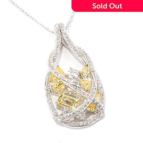 128-646 - RITANI Platinum Embraced™ 6.49 DEW Multi Cut Simulated Diamond Teardrop Pendant