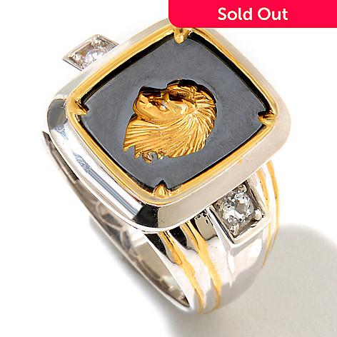128-649 - Men's en Vogue 14 x 12mm Hematite, White Topaz & Diamond Lion's Head Ring