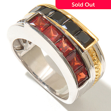 128-651 - Men's en Vogue 3.95ctw Garnet & Black Spinel Duo Band Ring