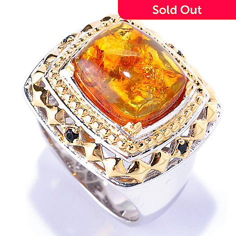 128-655 - Men's en Vogue 13 x 11mm Baltic Amber & Black Spinel Ring