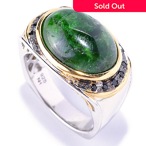 128-657 - Men's en Vogue 18 x 13mm Chrome Diopside & Black Spinel Ring