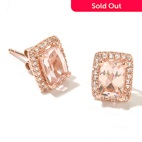 128-660 - Gem Treasures® 14K Gold 1.79ctw Morganite & White Topaz Stud Earrings