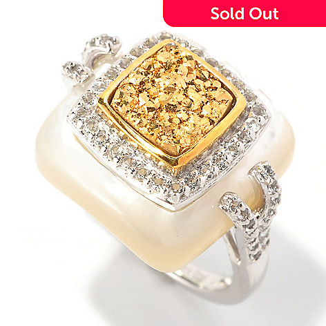 128-661 - Gem Insider Sterling Silver Golden Drusy, White Topaz & Shell Square Ring
