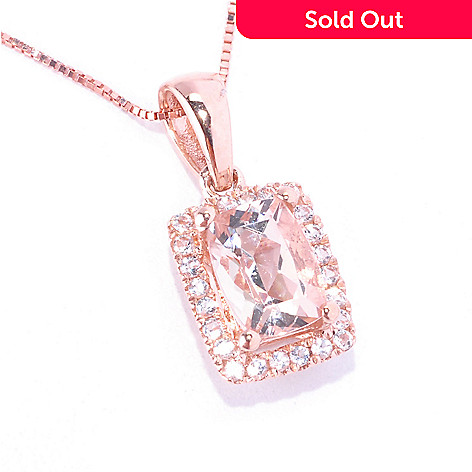 128-663 - Gem Treasures 14K Gold Cushion Cut Morganite & White Topaz Pendant w/ Chain