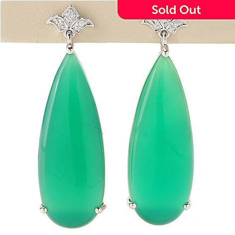 128-667 - NYC II 35 x 13mm Green Onyx & White Zircon Drop Earrings