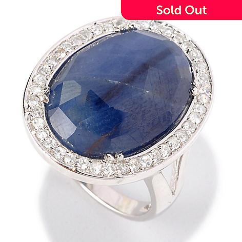 128-669 - NYC II™ 8.27ctw Sliced Sapphire & White Zircon Halo Ring