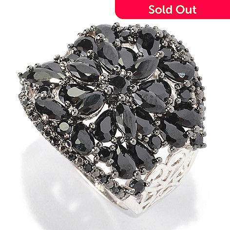 128-671 - NYC II® Black Spinel Floral Scrollwork Wide Band Ring