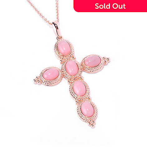 128-672 - NYC II™ 7 x 5mm Pink Opal Cross Pendant w/ 18'' Chain