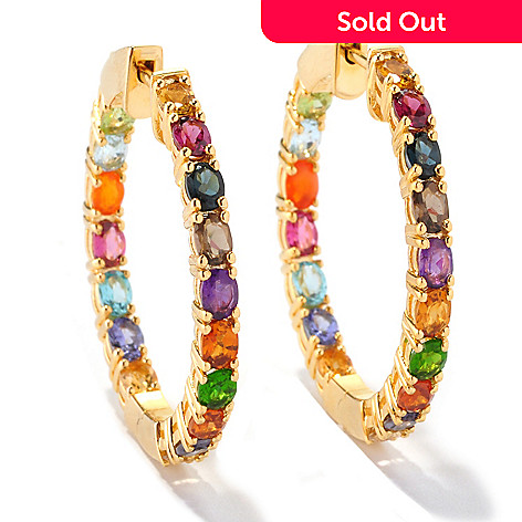 128-673 - NYC II® 5.96ctw Multi Gemstone Inside-out Hoop Earrings