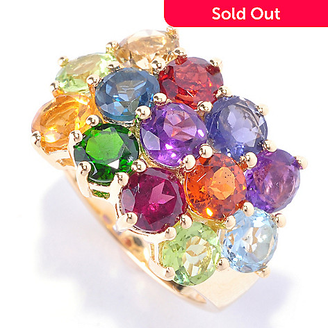 128-674 - NYC II 5.70ctw Multi Gemstone Three-Row Ring