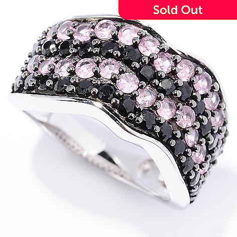 128-675 - NYC II® 2.16ctw Black Spinel & Pink Sapphire Wave Ring