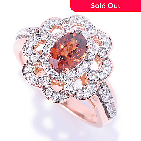 128-679 - Gem Treasures 14K Rose Gold 1.81ctw Mocha & White Zircon Oval Flower Ring
