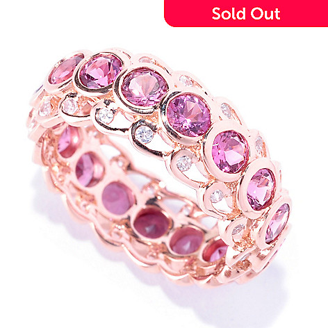 128-680 - Gem Treasures 14K Rose Gold 3.06ctw White Zircon & Pink Tourmaline Eternity Band Ring