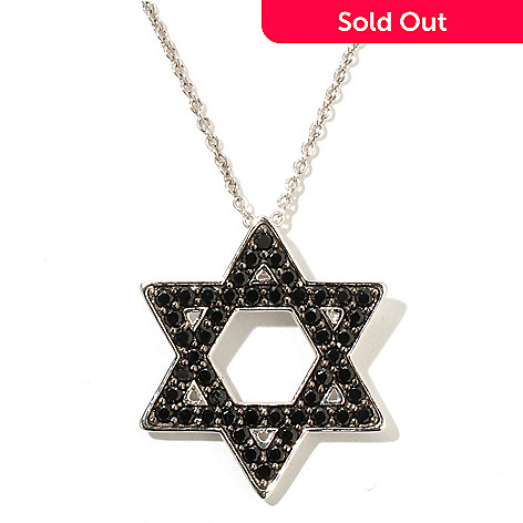 128-681 - Gem Treasures® Sterling Silver 1.40ctw Black Spinel Star of David Pendant w/ Chain