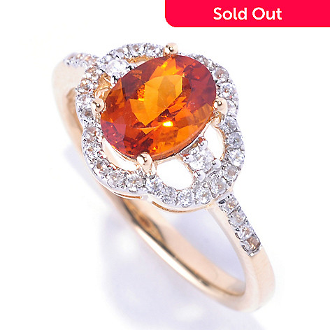 128-682 - Gem Treasures® 14K Gold 1.40ctw Oval Madeira Citrine & White Zircon Ring