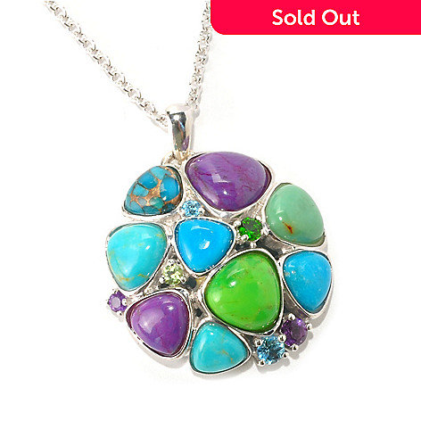 128-684 - Gem Insider Sterling Silver Multi Colors of American Turquoise Pendant w/ Chain