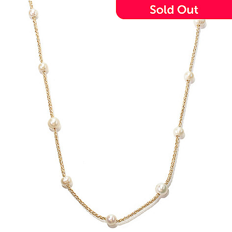 128-687 - 64'' 8-10mm White Freshwater Cultured Pearl Endless Woven Cord Necklace