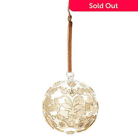 128-690 - 4.25'' Round Cloisonne-Style Enamel Hand-Painted Glass Ball Ornament