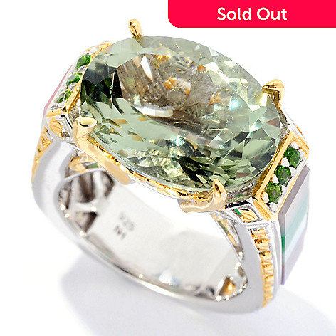 128-695 - Gems en Vogue 9.49ctw Prasiolite & Multi Gemstone Inlay Ring