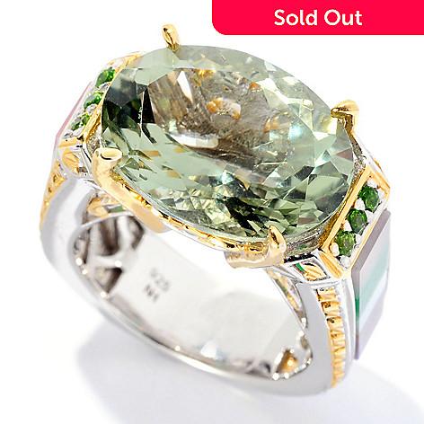 128-695 - Gems en Vogue 9.49ctw Prasiolite & Multi Gemstone Inlay Ring