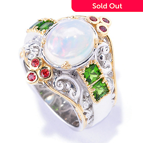 128-696 - Gems en Vogue 2.58ctw Opal, Chrome Diopside & Orange Sapphire Ring