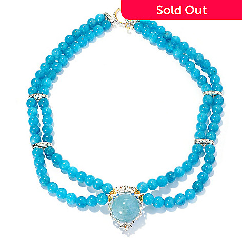 128-704 - Gems en Vogue 20mm Aquamarine Beaded Double Strand Necklace