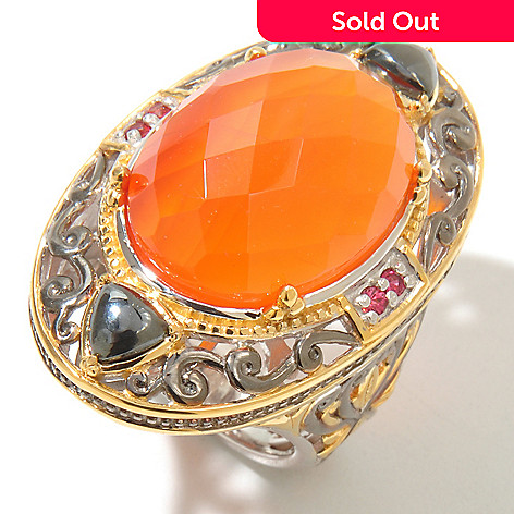 128-705 - Gems en Vogue Checkerboard-Cut Carnelian w/ Orange Sapphire Ring