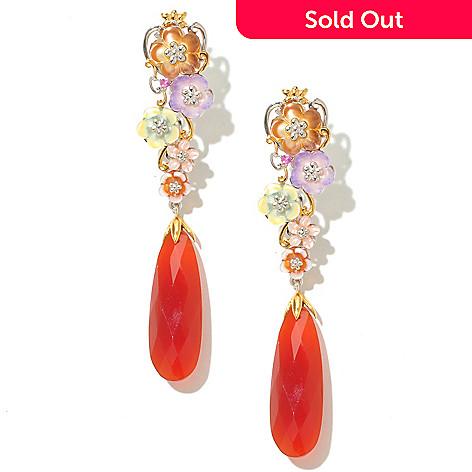 128-707 - Gems en Vogue 30 x 10mm Carnelian & Multi Flower Elongated Earrings