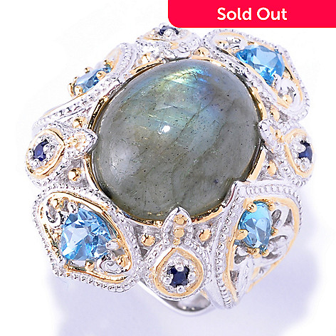 128-708 - Gems en Vogue 14 x 12mm Labradorite & Multi Gemstone Ring