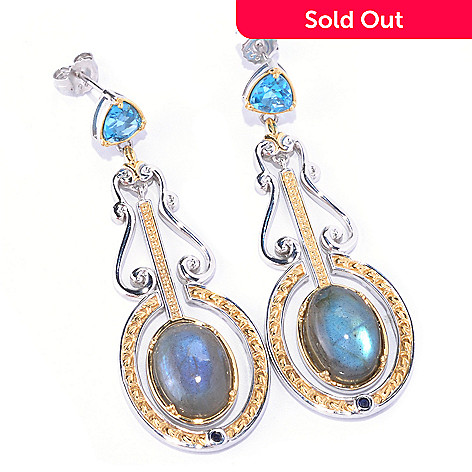128-709 - Gems en Vogue 14 x 10mm Labradorite & Multi Gemstone Drop Earrings