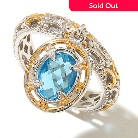 128-712 - Gems en Vogue 1.22ctw Swiss Blue Topaz Charm Band Ring