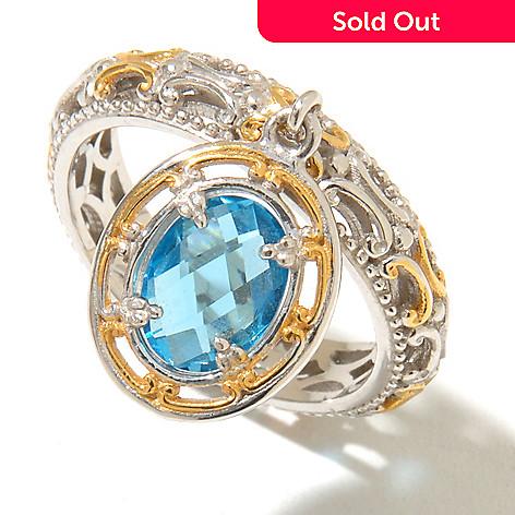 128-712 - Gems en Vogue 1.22ctw Swiss Blue Topaz Charm Band Ring