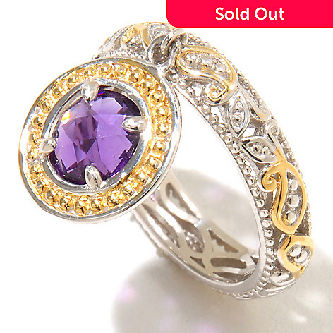 128-713 - Gems en Vogue 1.05ctw Amethyst Charm Band Ring