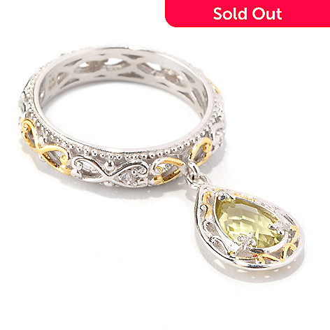 128-714 - Gems en Vogue Pear Shaped Ouro Verde & White Sapphire Charm Band Ring